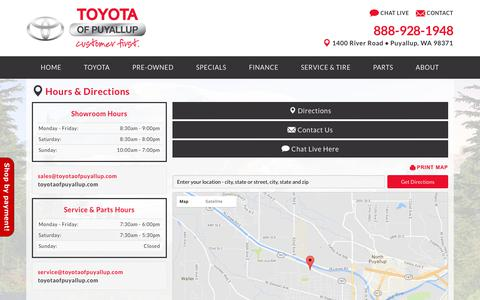 Screenshot of About Page Maps & Directions Page toyotaofpuyallup.com - Hours of Operation: Toyota Puyallup Directions contact info - captured June 23, 2017