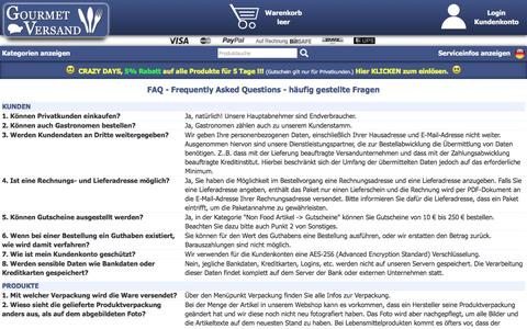 Screenshot of FAQ Page gourmet-versand.com - FAQ von GOURMET VERSAND - captured April 3, 2017