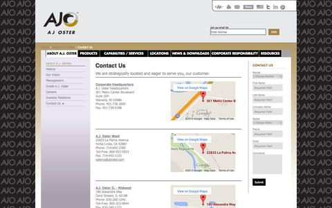 Screenshot of Contact Page ajoster.com - Metal Service Center   Copper and Brass Supplier   Contact Us - A.J. Oster - captured Oct. 29, 2014