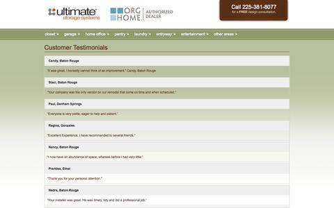 Screenshot of Testimonials Page ultimatestoragesystems.com - Customer Testimonials | Ultimate Storage Systems - Baton Rouge LA - captured Sept. 30, 2014