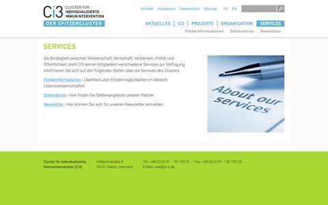 Screenshot of Services Page ci-3.de - Services | Ci3 - Cluster für individualisierte Immunintervention - captured Sept. 28, 2018