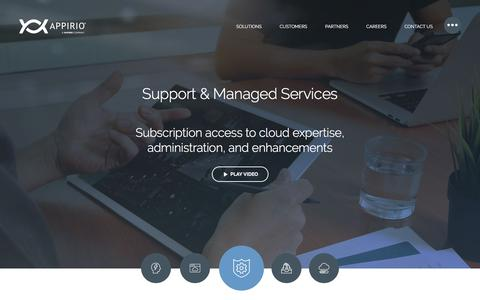 Screenshot of Support Page appirio.com - Support & Managed Services - Appirio - captured July 9, 2017
