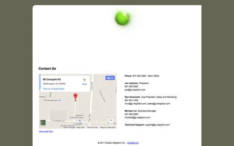 Screenshot of Contact Page g-neighbor.com - Global Neighbor - Contact Us - captured Oct. 2, 2014