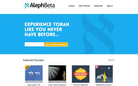 Screenshot of Login Page alephbeta.org - Torah Courses and Lectures - Aleph Beta - captured Oct. 31, 2014
