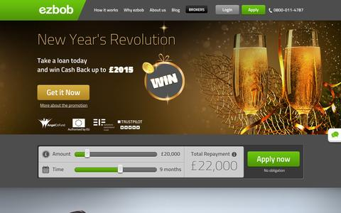 Screenshot of Home Page ezbob.com - Business Loans UK | ezbob Business Funding Loan - captured Jan. 15, 2015