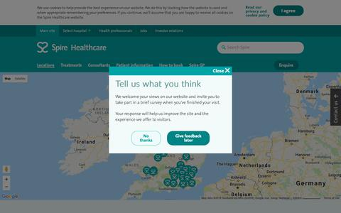 Screenshot of Locations Page spirehealthcare.com - Hospitals Near Me | Find Your Nearest Hospital | Spire Healthcare - captured Oct. 3, 2018