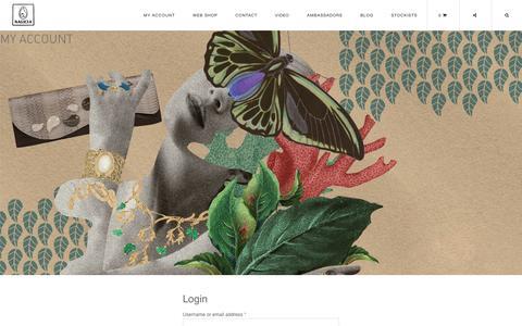 Screenshot of Login Page nagicia.com - Nagicia Jewellery and Handbags - My Account - captured Feb. 16, 2016