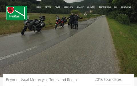 Screenshot of Home Page gobeyondusual.com - Go Beyond Usual | Beyond Usual Motorcycle Tours and Rentals - captured Feb. 7, 2016