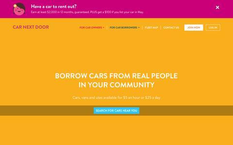 Screenshot of Home Page carnextdoor.com.au - Car Share Sydney Melbourne | Van & Car Hire | Car Next Door - captured May 12, 2016