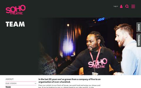 Screenshot of Contact Page Team Page sohotheatre.com - Team - Soho Theatre - captured Sept. 22, 2018