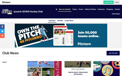 Screenshot of Press Page pitchero.com - News - Ipswich SEVEN Hockey Club - captured Oct. 29, 2018
