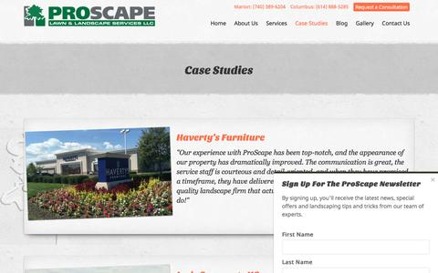Screenshot of Case Studies Page proscape-services.com - Case Studies Archive - ProScape Lawn & Landscape Services - captured Nov. 12, 2016