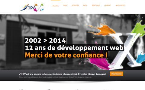 Screenshot of Home Page internet-gers.com - création sites internet gers - seo - responsive design - drupal - wordpress - magento - captured Oct. 1, 2014