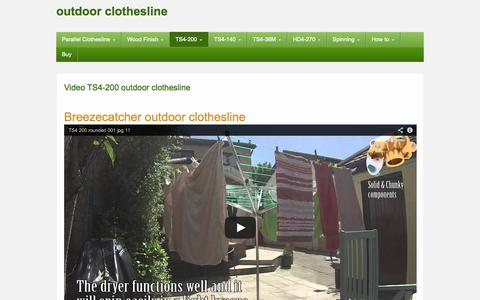 Screenshot of Home Page outdoor-clothesline.com - Video TS4-200 outdoor clothesline - outdoor clothesline - captured Sept. 22, 2014
