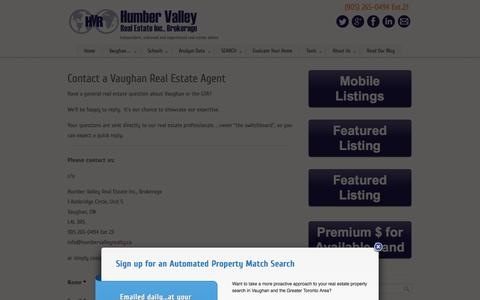Screenshot of Contact Page humbervalleyrealty.ca - Contact a Vaughan real estate agent - captured Oct. 1, 2014