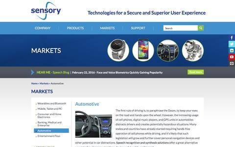 Screenshot of sensory.com - Automotive | Sensory - captured March 19, 2016