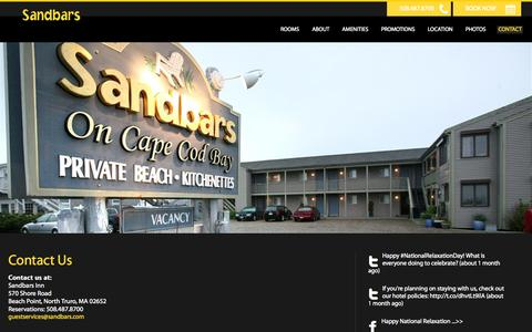 Screenshot of Contact Page sandbars.com - Contact Us - Sandbars Inn - North Truro - USA - captured Oct. 4, 2014