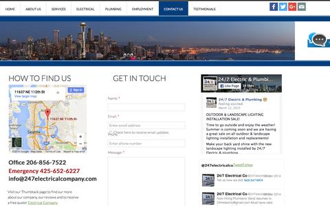 Screenshot of Privacy Page Contact Page 247electricalcompany.com - Get an electrician or plumber today. - captured Jan. 12, 2016