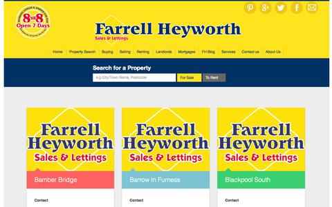 Screenshot of Contact Page farrellheyworth.co.uk - branches - captured Aug. 3, 2015
