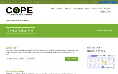 Screenshot of Press Page cope.it - News  Cope, Cooperazione Paesi Emergenti - captured Dec. 21, 2018