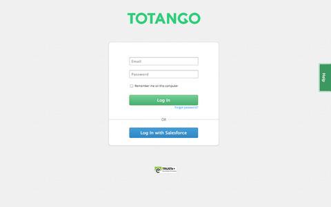 Screenshot of Login Page totango.com - Log In to Totango - captured Sept. 17, 2014