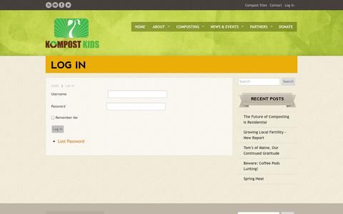 Screenshot of Login Page kompostkids.org - Log In | Kompost Kids Inc. - captured Oct. 6, 2014