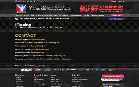 Screenshot of Contact Page iracing.com - Contact   iRacing.com - captured Sept. 18, 2014
