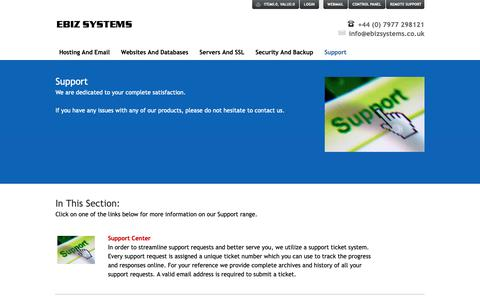 Screenshot of Support Page ebizsystems.co.uk - Support - captured Nov. 4, 2018