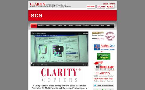 Screenshot of Home Page claritycopiershw.co.uk - Ricoh Photocopiers, Sharp Photocopiers, Oki Photocopiers, Colour Photocopying - captured Oct. 2, 2014