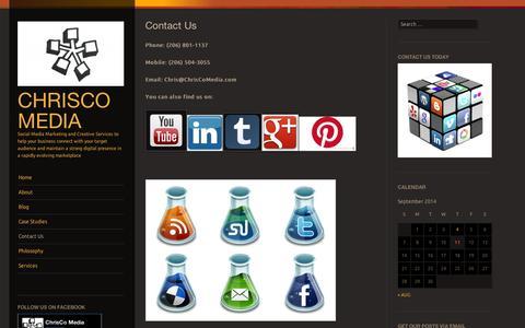 Screenshot of Contact Page wordpress.com - Contact Us | ChrisCo Media - captured Sept. 12, 2014