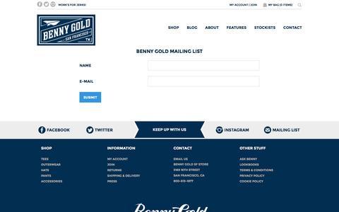 Screenshot of Signup Page bennygold.com - Signup  | Benny Gold - captured Dec. 31, 2015