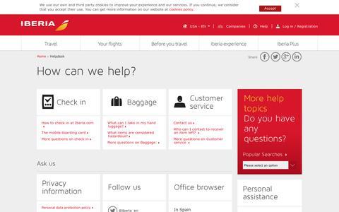 Screenshot of Support Page iberia.com - Customer care - Iberia - captured Sept. 11, 2018