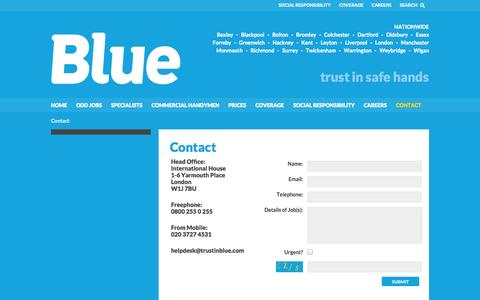 Screenshot of Contact Page trustinblue.com - Contact | Reliable Local Handymen | Blue - captured Oct. 5, 2014