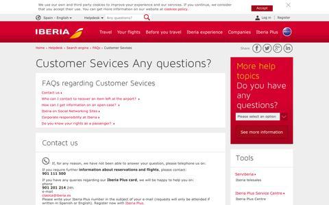 Screenshot of Contact Page iberia.com - Customer Sevices - Iberia - captured Jan. 8, 2016