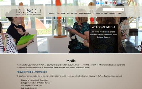 Screenshot of Press Page discoverdupage.com - Discover DuPage County - Media - captured Oct. 5, 2014