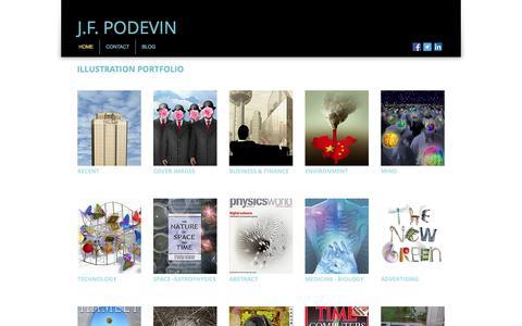 Screenshot of Home Page podevin.com - J.F.Podevin Editorial Illustration Portfolio - captured Nov. 30, 2016