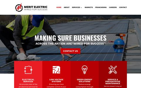 Screenshot of Home Page merit-electric.com - Electrical Services | Commercial Electrician | Industrial Electrician - captured July 27, 2018