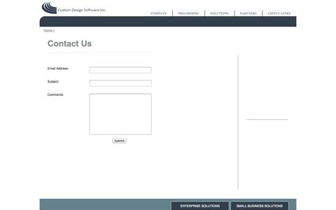 Screenshot of Contact Page custom-design-software-incorporated.com - Custom Design Software, Inc - captured Oct. 3, 2014