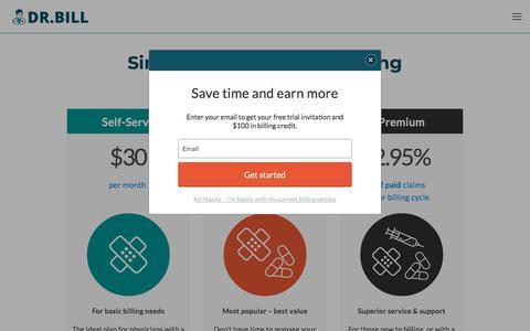 Screenshot of Pricing Page dr-bill.ca - Plans & Pricing - Medical Billing App - Dr. Bill - captured July 16, 2018