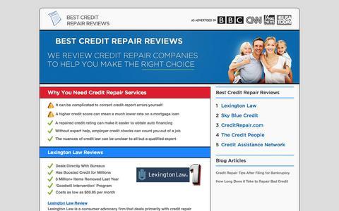 Screenshot of Home Page best-credit-repair-reviews.com - 2015 Best Credit Repair Reviews - captured Sept. 20, 2015