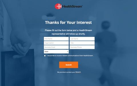 Screenshot of Landing Page healthstream.com - Contact a HealthStream Representative for More Information. - captured May 11, 2017