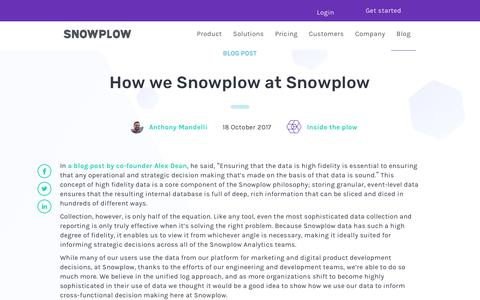 Screenshot of Blog snowplowanalytics.com - How we Snowplow at Snowplow - captured Feb. 10, 2020