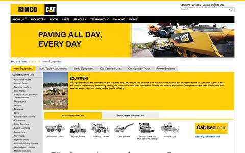 Screenshot of Products Page rimcocat.com - RIMCO - New Equipment - captured Nov. 4, 2014