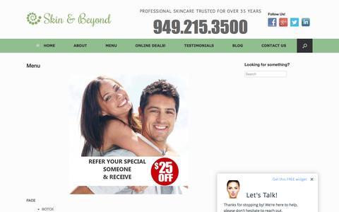 Screenshot of Menu Page myskinandbeyond.com - Services Menu | Skin and Beyond Professional Skincare, Orange County - captured Feb. 4, 2016