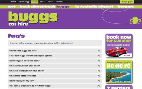 Screenshot of FAQ Page buggscarhire.com - Cheap Car Rental, Car Hire | Buggs Car Hire, Bergerac, France - captured Jan. 10, 2017