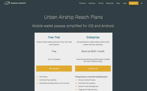 Screenshot of Pricing Page urbanairship.com - Mobile Wallet Packages | Urban Airship - captured April 21, 2017