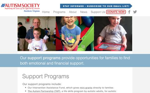 Screenshot of Support Page asnv.org - Support Programs - Autism Society of Northern Virginia - captured Oct. 30, 2018
