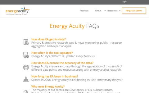 Screenshot of FAQ Page energyacuity.com - FAQ - captured April 26, 2018