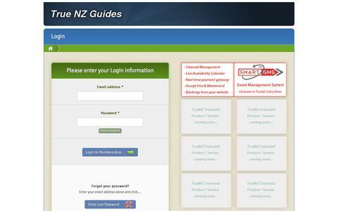 Screenshot of Login Page truenz.co.nz - Login | TrueNZ Guides Member Section - captured April 11, 2017