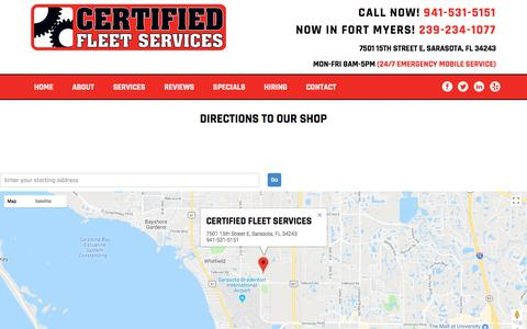 Screenshot of Maps & Directions Page certifiedfleetservices.com - Directions to our shop in Sarasota FL - Certified Fleet Services - captured July 17, 2018